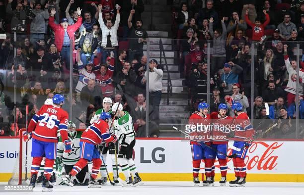 Artturi Lehkonen Jonathan Drouin Brendan Gallagher and Alex Galchenyuk of the Montreal Canadiens celebrate a goal against the Dallas Stars in the NHL...