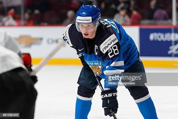 Artturi Lehkonen of Team Finland looks on prior to a faceoff in a preliminary round game during the 2015 IIHF World Junior Hockey Championships...