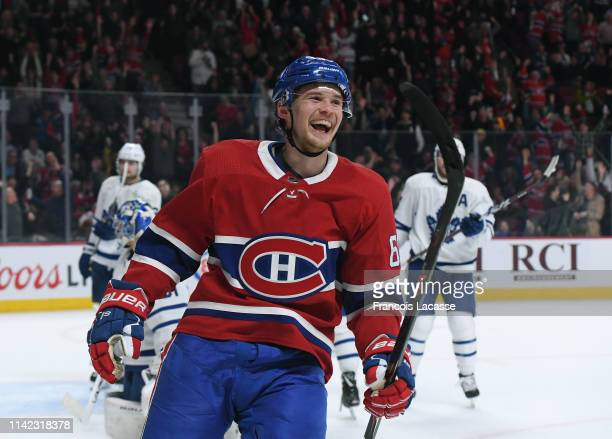 Artturi Lehkonen of the Montreal Canadiens celebrates a goal against the Toronto Maple Leafs in the NHL game at the Bell Centre on April 6 2019 in...