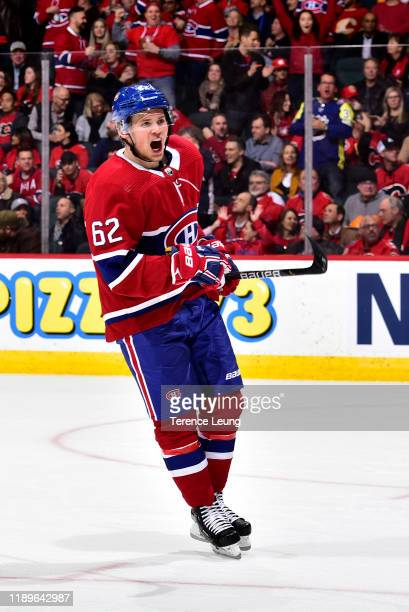 Artturi Lehkonen of the Montreal Canadiens celebrates a goal against the Calgary Flames at Scotiabank Saddledome on December 19 2019 in Calgary Canada