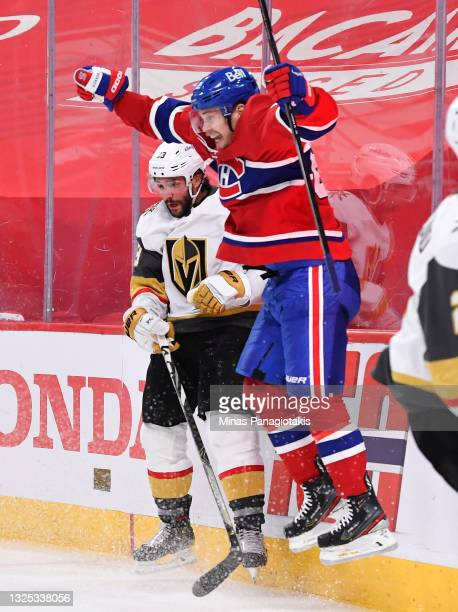 Artturi Lehkonen of the Montreal Canadiens celebrates after scoring the game-winning goal against the Vegas Golden Knights during the first overtime...