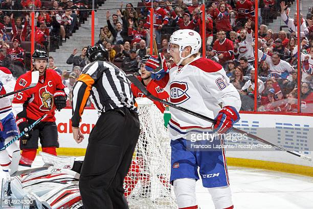 Artturi Lehkonen of the Montreal Canadiens celebrates his first NHL goal against the Ottawa Senators in a game at Canadian Tire Centre on October 15...