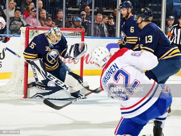Artturi Lehkonen of the Montreal Canadiens fires a shot against Linus Ullmark of the Buffalo Sabres during an NHL game on March 23 2018 at KeyBank...