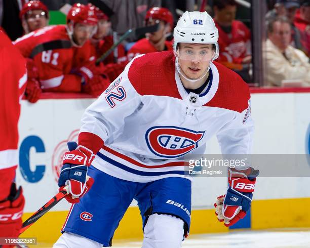 Artturi Lehkonen of the Montreal Canadiens follows the play against the Detroit Red Wings during an NHL game at Little Caesars Arena on January 7...