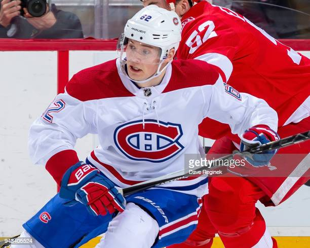 Artturi Lehkonen of the Montreal Canadiens follows the play against the Detroit Red Wings during an NHL game at Little Caesars Arena on April 5 2018...