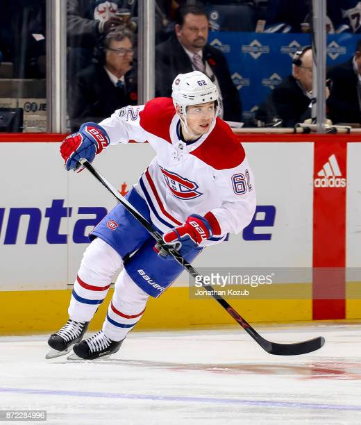 Artturi Lehkonen of the Montreal Canadiens follows the play down the ice during first period action against the Winnipeg Jets at the Bell MTS Place...