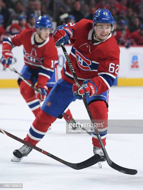 Artturi Lehkonen of the Montreal Canadiens passes the puck against the Vancouver Canucks in the NHL game at the Bell Centre on January 3 2019 in...