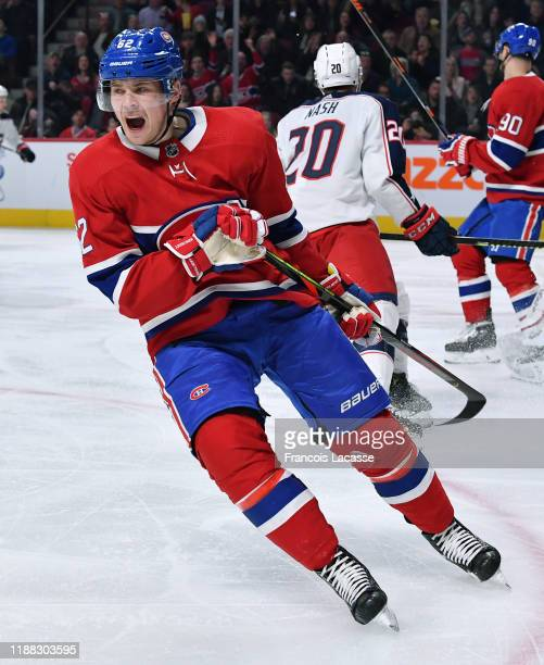 Artturi Lehkonen of the Montreal Canadiens reacts after miss a goal the Columbus Blue Jackets in the NHL game at the Bell Centre on November 12 2019...