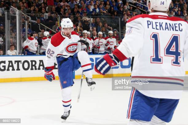 Artturi Lehkonen of the Montreal Canadiens reacts after scoring a power play goal in the second period against the New York Rangers in Game Three of...