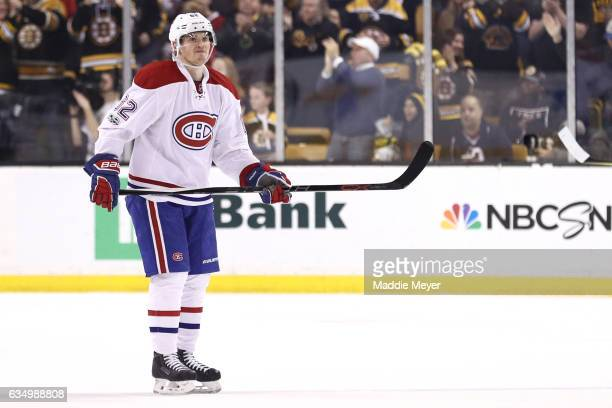 Artturi Lehkonen of the Montreal Canadiens reacts after Zdeno Chara of the Boston Bruins scored during the second period at TD Garden on February 12...