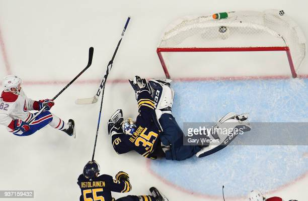 Artturi Lehkonen of the Montreal Canadiens scores a goal on Linus Ullmark of the Buffalo Sabres during an NHL game on March 23 2018 at KeyBank Center...