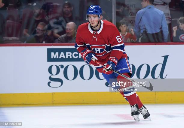 Artturi Lehkonen of the Montreal Canadiens skates against the Detroit Red Wings in the NHL game at the Bell Centre on October 10 2019 in Montreal...