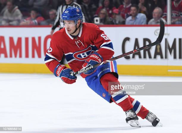 Artturi Lehkonen of the Montreal Canadiens skates against the Carolina Hurricanes in the NHL game at the Bell Centre on November 27 2018 in Montreal...
