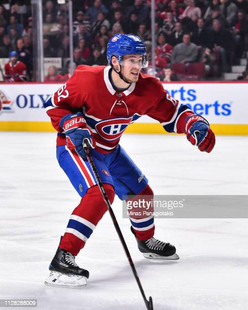 Artturi Lehkonen of the Montreal Canadiens skates against the Winnipeg Jets during the NHL game at the Bell Centre on February 7 2019 in Montreal...