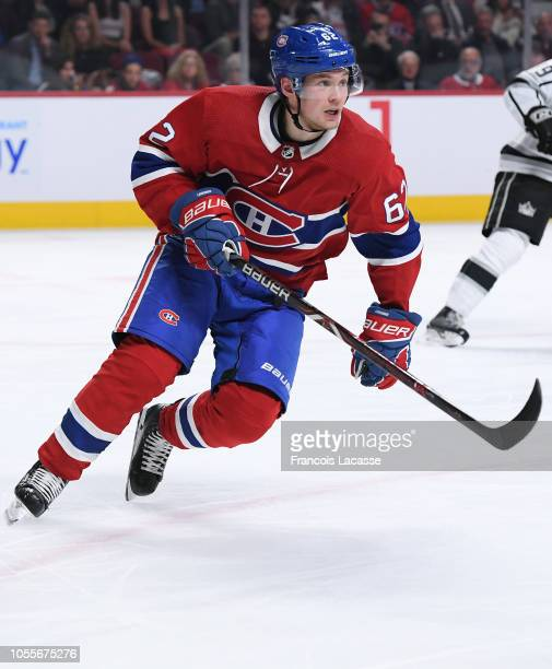 Artturi Lehkonen of the Montreal Canadiens skates against the Los Angeles Kings in the NHL game at the Bell Centre on October 11 2018 in Montreal...