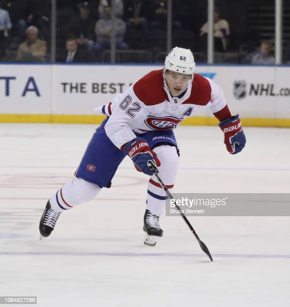 Artturi Lehkonen of the Montreal Canadiens skates against the New York Rangers at Madison Square Garden on November 06 2018 in New York City The...