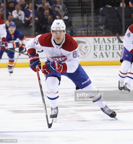 Artturi Lehkonen of the Montreal Canadiens skates against the New York Islanders at the Barclays Center on March 03 2020 in the Brooklyn borough of...