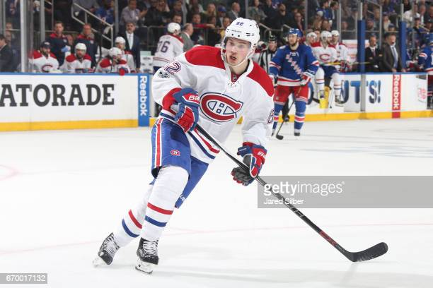 Artturi Lehkonen of the Montreal Canadiens skates against the New York Rangers in Game Four of the Eastern Conference First Round during the 2017 NHL...