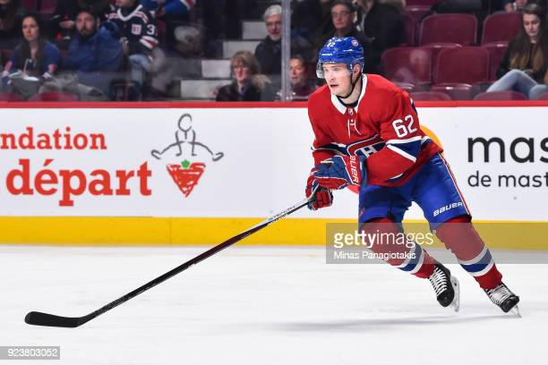 Artturi Lehkonen of the Montreal Canadiens skates against the New York Rangers during the NHL game at the Bell Centre on February 22 2018 in Montreal...
