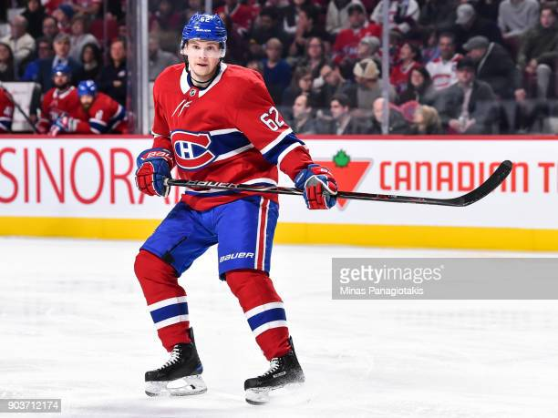 Artturi Lehkonen of the Montreal Canadiens skates against the Vancouver Canucks during the NHL game at the Bell Centre on January 7 2018 in Montreal...