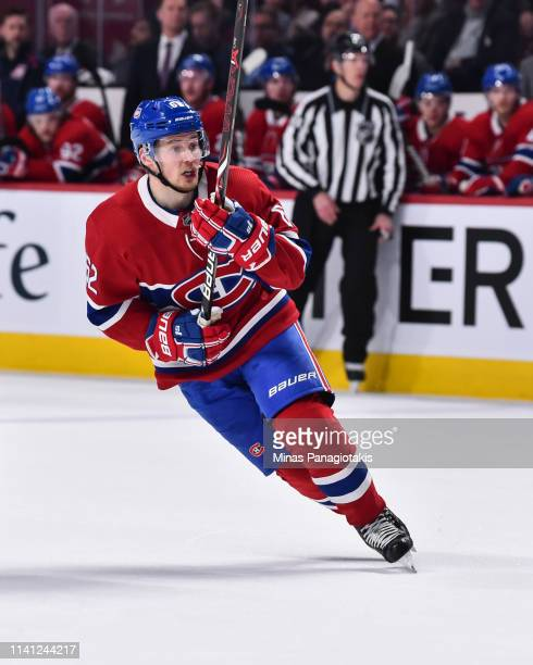 Artturi Lehkonen of the Montreal Canadiens skates against the Toronto Maple Leafs during the NHL game at the Bell Centre on April 6 2019 in Montreal...