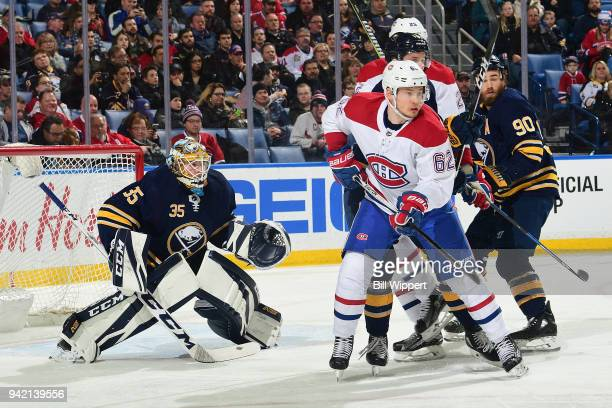 Artturi Lehkonen of the Montreal Canadiens skates during an NHL game against Linus Ullmark of the Buffalo Sabres on March 23 2018 at KeyBank Center...