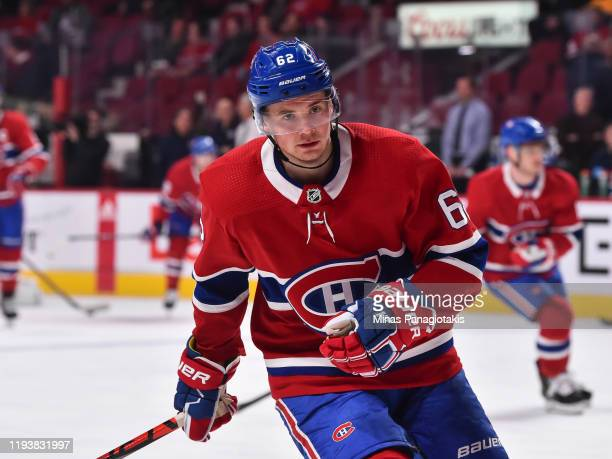 Artturi Lehkonen of the Montreal Canadiens skates during the warmup against the Ottawa Senators at the Bell Centre on December 11 2019 in Montreal...