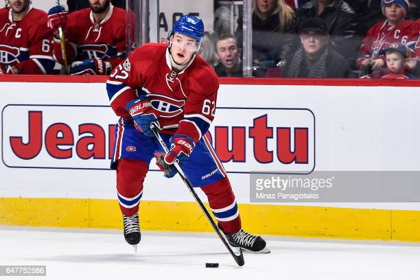 Artturi Lehkonen of the Montreal Canadiens skates the puck during the NHL game against the Nashville Predators at the Bell Centre on March 2 2017 in...