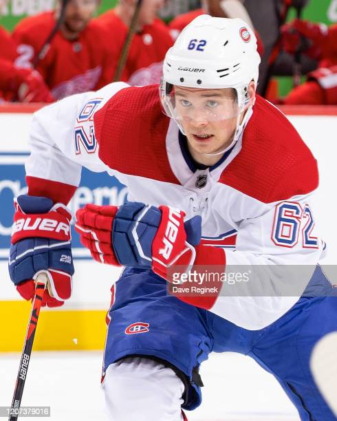 Artturi Lehkonen of the Montreal Canadiens skates up ice against the Detroit Red Wings during an NHL game at Little Caesars Arena on February 18 2020...