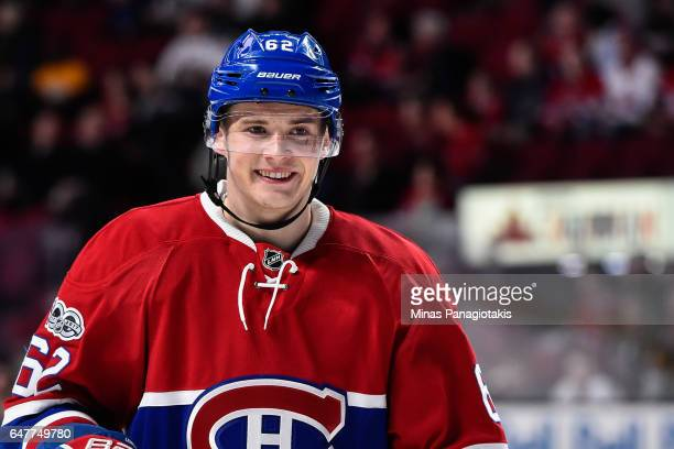 Artturi Lehkonen of the Montreal Canadiens smiles during the warmup prior to the NHL game against the Nashville Predators at the Bell Centre on March...
