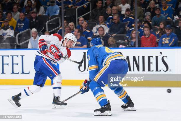 Artturi Lehkonen of the Montreal Canadiens takes a shot against the St Louis Blues at Enterprise Center on October 17 2019 in St Louis Missouri