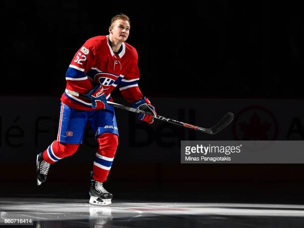 Artturi Lehkonen of the Montreal Canadiens takes to the ice during the pre game ceremony prior to the NHL game against the Chicago Blackhawks at the...