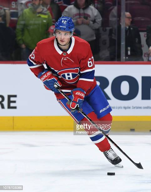 Artturi Lehkonen of the Montreal Canadiens warms up prior to the game against the New York Rangers in the NHL game at the Bell Centre on December 1...