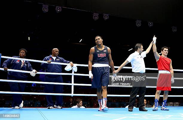 Artur Beterbiev of Russia celebrates his victory over Michael Hunter II of United States during the Men's Heavy Boxing on Day 5 of the London 2012...