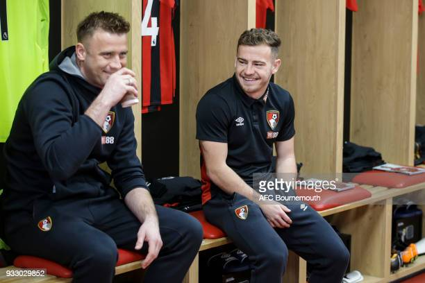 Artur Boric and Ryan Fraser of Bournemouth before the Premier League match between AFC Bournemouth and West Bromwich Albion at Vitality Stadium on...