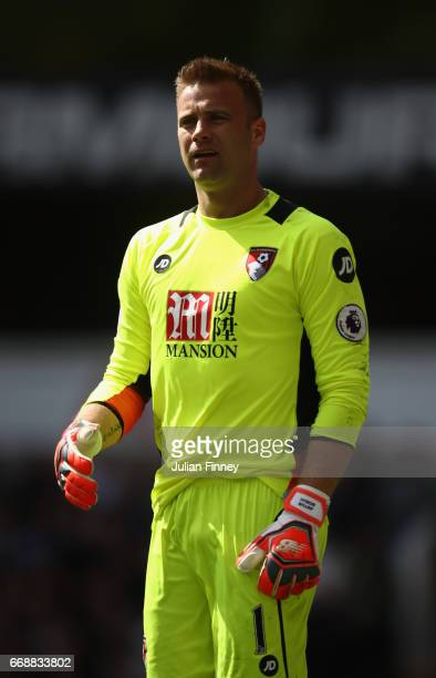Artur Boruc goalkeeper of Bournemouth looks on during the Premier League match between Tottenham Hotspur and AFC Bournemouth at White Hart Lane on...