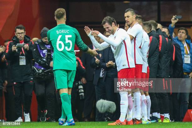 Artur Boruc Grzegorz Krychowiak during the international friendly match between Poland and Uruguay at National Stadium on November 10 2017 in Warsaw...
