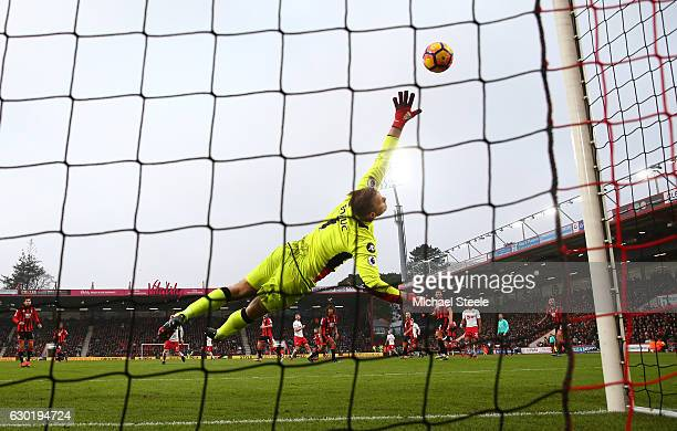 Artur Boruc of AFC Bournemouth fails to stop Jay Rodriguez of Southampton shot from going in for Southampton's third goal of the game during the...