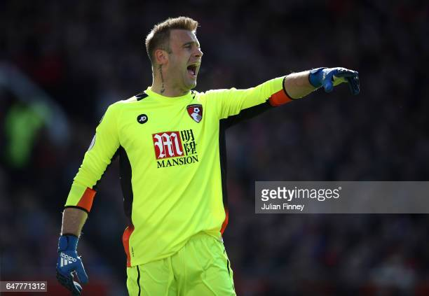 Artur Boruc of AFC Bournemouth gives his team instructions during the Premier League match between Manchester United and AFC Bournemouth at Old...