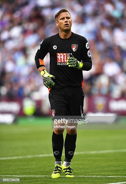 Artur Boruc of AFC Bournemouth in action during the Premier League match between West Ham United and AFC Bournemouth at London Stadium on August 21...