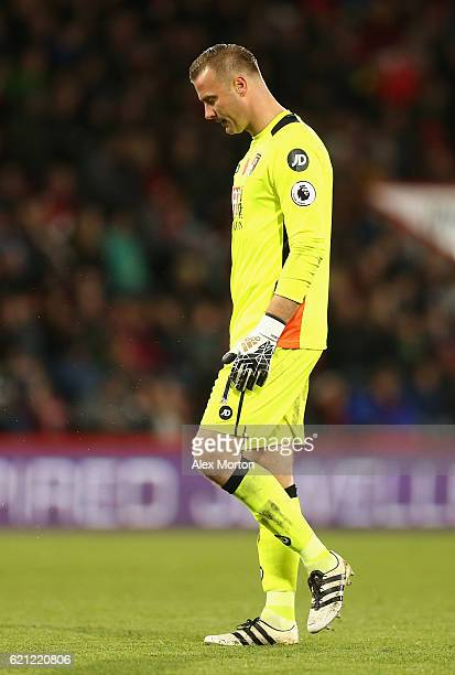 Artur Boruc of AFC Bournemouth is dejected during the Premier League match between AFC Bournemouth and Sunderland at Vitality Stadium on November 5...