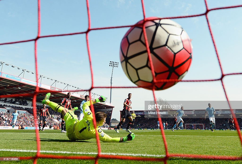 Artur Boruc of Bournemouth dives in vain as Kevin de Bruyne of Manchester City scores his team's second goal during the Barclays Premier League match between A.F.C. Bournemouth and Manchester City at Vitality Stadium on April 2, 2016 in Bournemouth, England.