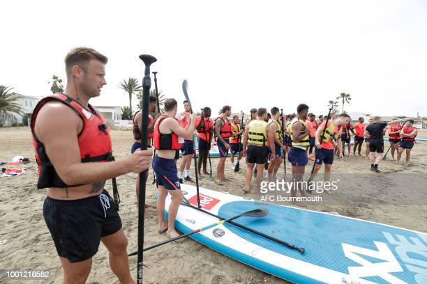 Artur Boruc of Bournemouth during preseason teambuilding exercise involving paddle boards on July 18 2018 in La Manga Spain