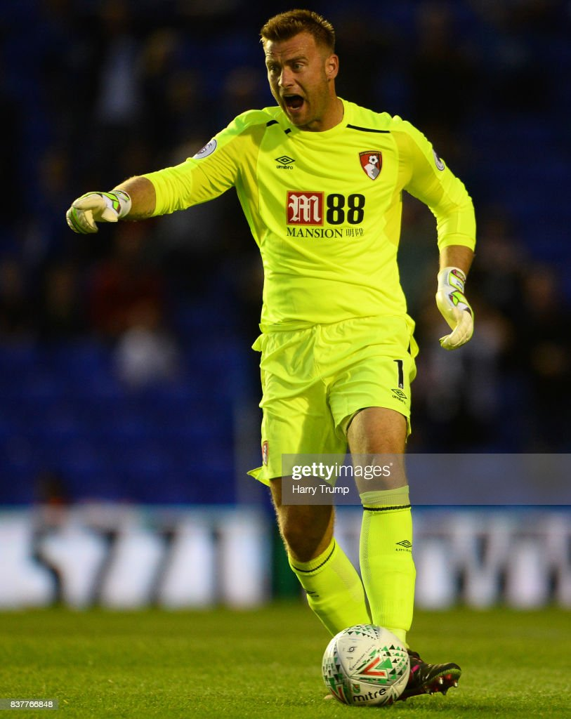 Artur Boruc of Bournemouth during the Carabao Cup Second Round match between Birmingham City and AFC Bournemouth at St Andrews Stadium on August 22, 2017 in Birmingham, England.