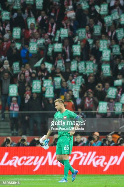 Artur Boruc of Poland makes his final international appearance in his 65th game for the Polish national team during the international friendly match...