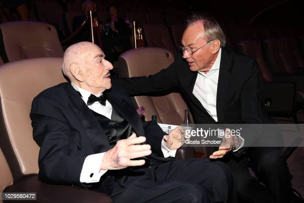 Artur Brauner and Klaus Maria Brandauer during the 100th bitrhday celebration gala for Artur Brauner at Zoo Palast on September 8, 2018 in Berlin,...