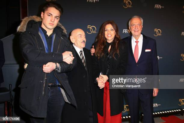 Artur Brauner with his daughter Alice Brauner and his grandson David Zechbauer and Bernd Neumann attend the 50th anniversary celebration of FFA at...