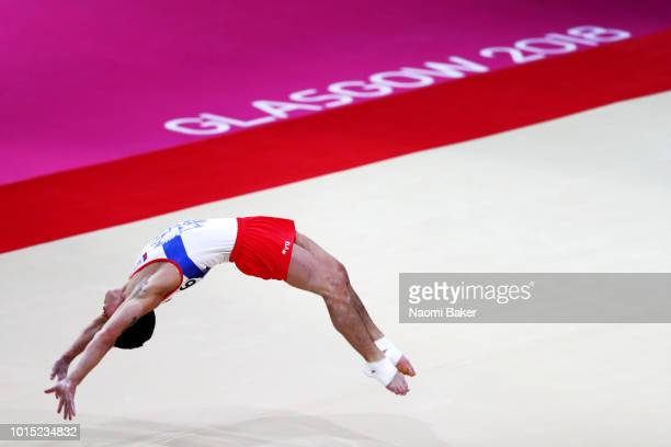 Artur Dalaloyan of Russia competes in Floor Exercise in the Men's team Gymnastics Final during the Gymnastics on Day Ten of the European...