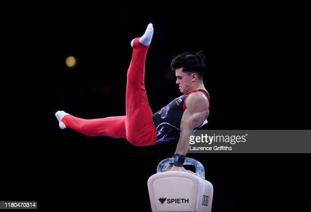 Artur Dalaloyan of Russia competes on Pommel Horse during The Men's All-Around Final of the FIG Artistic Gymnastics World Championships at Hanns...