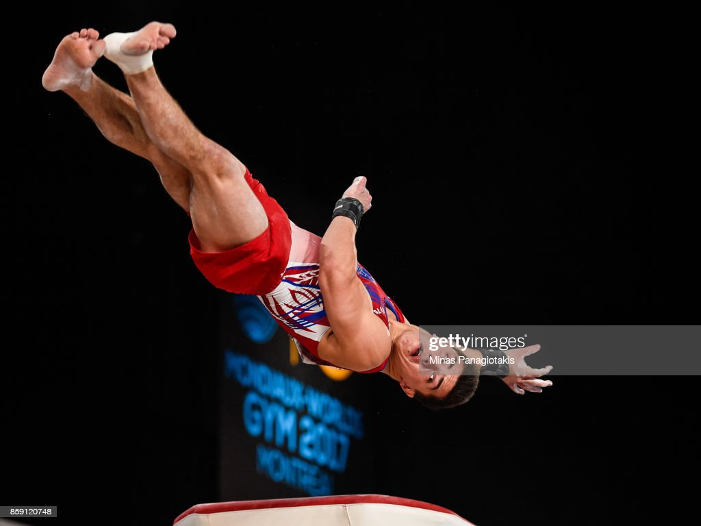 Artur Dalaloyan of Russia competes on the vault during the individual apparatus finals of the Artistic Gymnastics World Championships on October 8, 2017 at Olympic Stadium in Montreal, Canada.